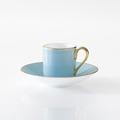 Porcelaine de Limoges Mokkatasse mit Untertasse Opal