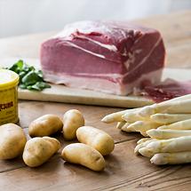 Spargel mit Holsteiner Katenschinken, Sahnebutter und Pellkartoffeln